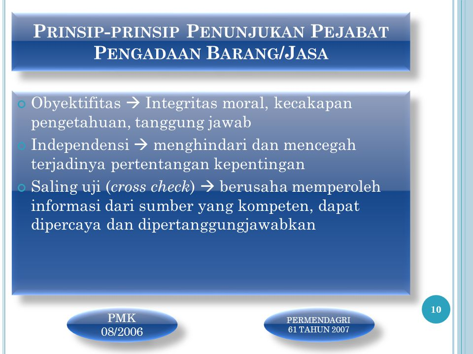 Prinsip-prinsip Penunjukan Pejabat Pengadaan Barang/Jasa