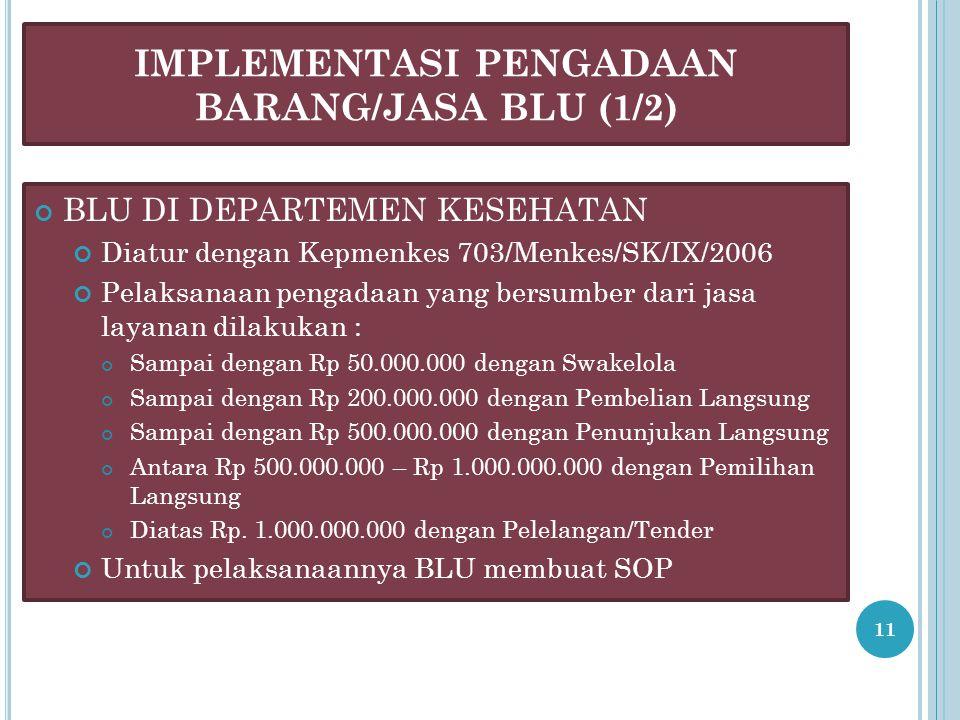 IMPLEMENTASI PENGADAAN BARANG/JASA BLU (1/2)