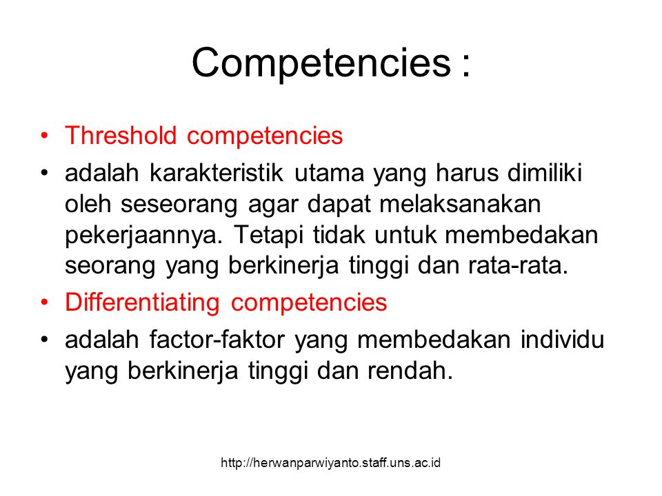 Competencies : Threshold competencies