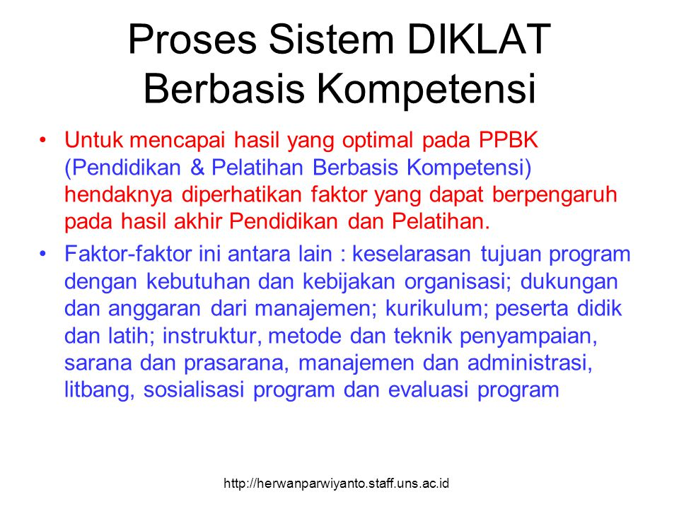 Proses Sistem DIKLAT Berbasis Kompetensi