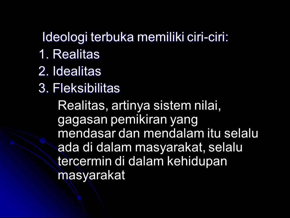 Ideologi terbuka memiliki ciri-ciri: