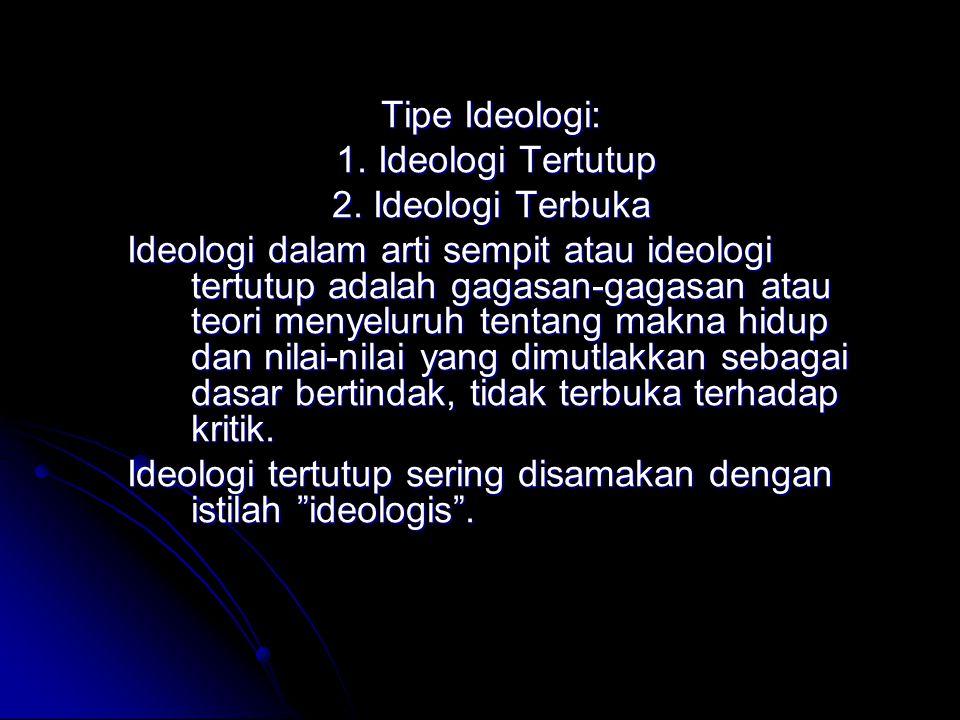 Tipe Ideologi: 1. Ideologi Tertutup. 2. Ideologi Terbuka.