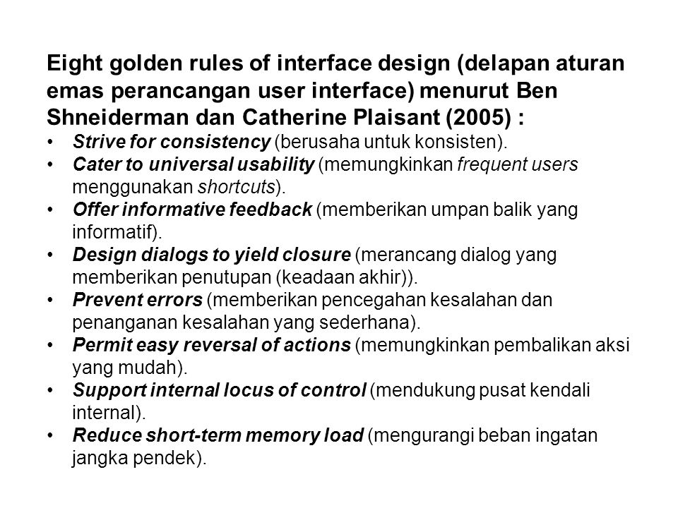 Eight golden rules of interface design (delapan aturan