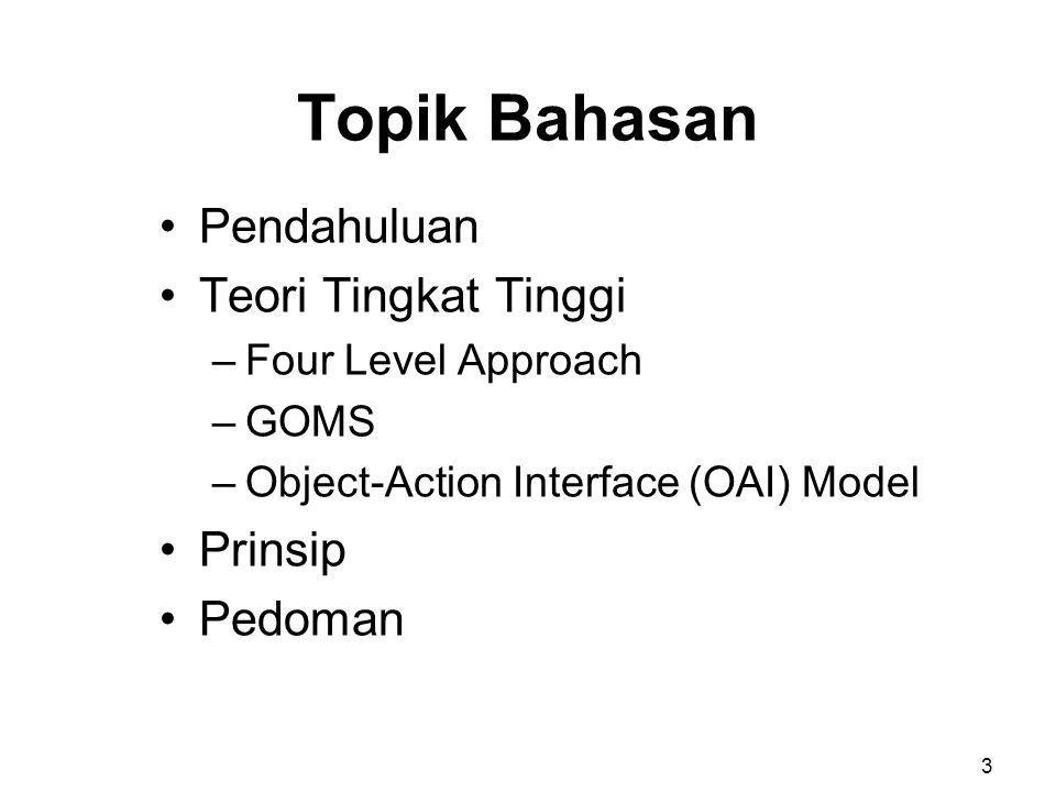 Topik Bahasan Pendahuluan Teori Tingkat Tinggi Prinsip Pedoman