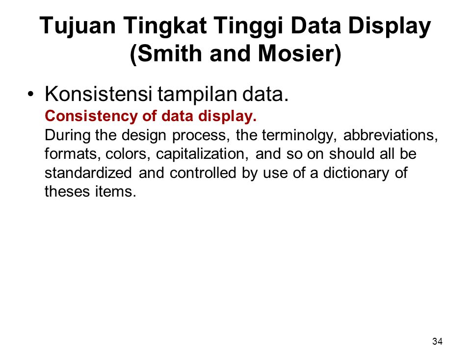 Tujuan Tingkat Tinggi Data Display (Smith and Mosier)