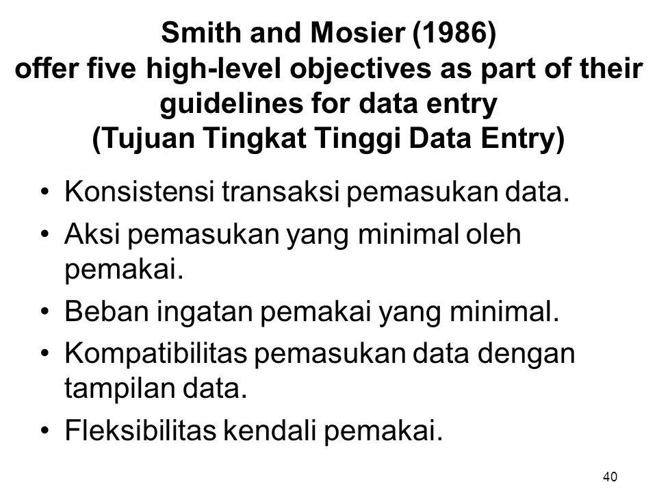 Konsistensi transaksi pemasukan data.