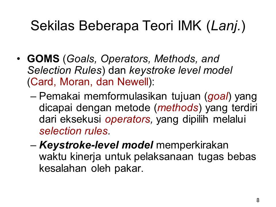 Sekilas Beberapa Teori IMK (Lanj.)