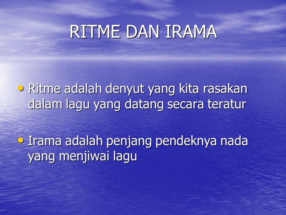 RITME DAN IRAMA Ritme adalah denyut yang kita rasakan dalam lagu yang datang secara teratur.