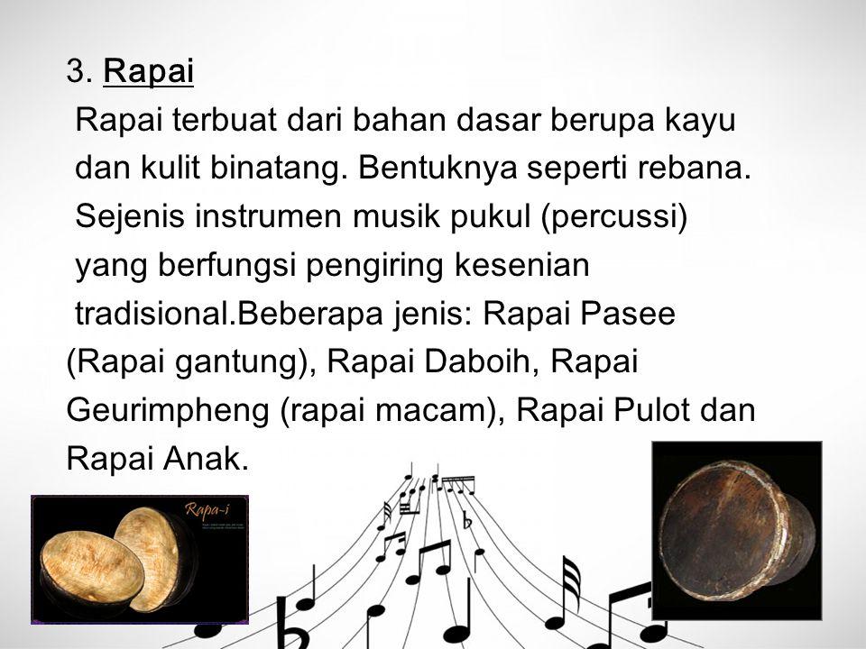 3. Rapai Rapai terbuat dari bahan dasar berupa kayu. dan kulit binatang. Bentuknya seperti rebana.