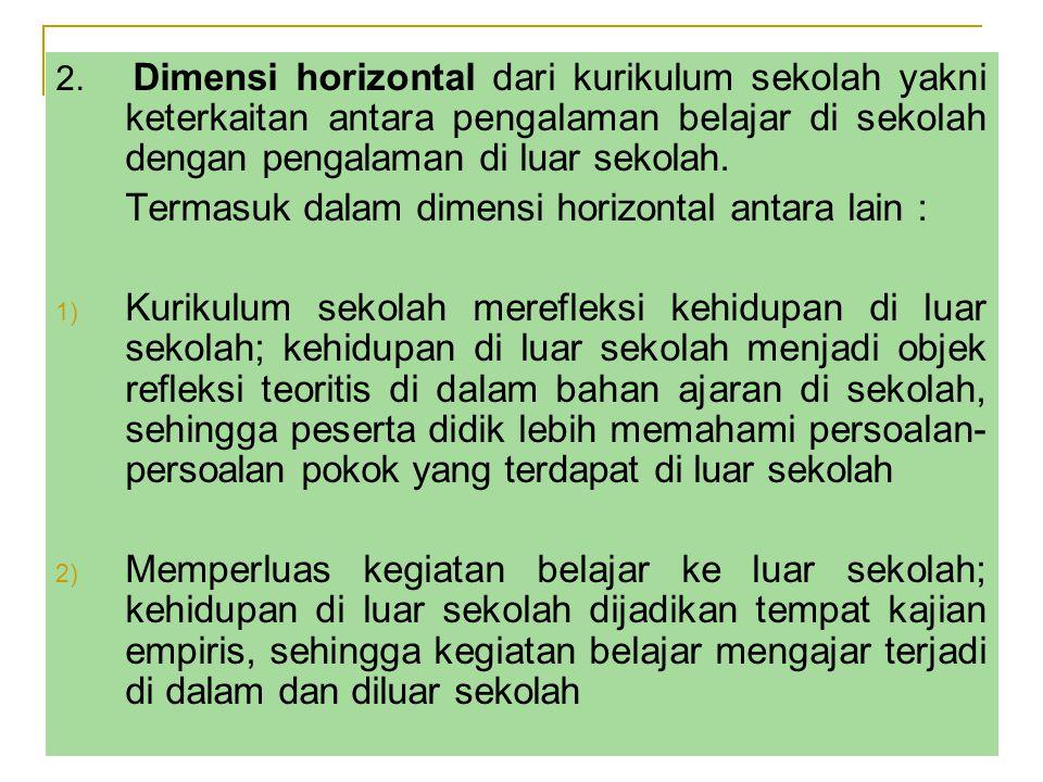 Termasuk dalam dimensi horizontal antara lain :