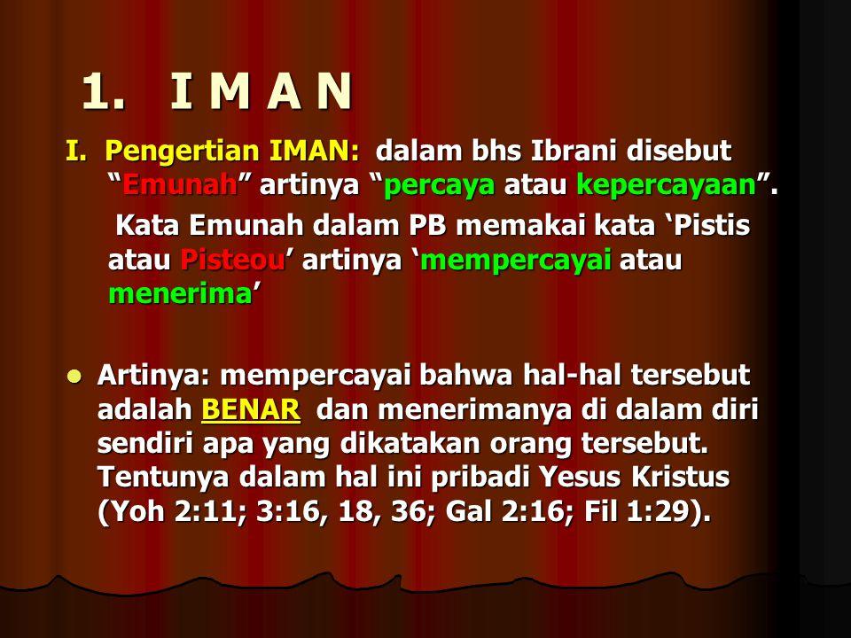 1. I M A N I. Pengertian IMAN: dalam bhs Ibrani disebut Emunah artinya percaya atau kepercayaan .