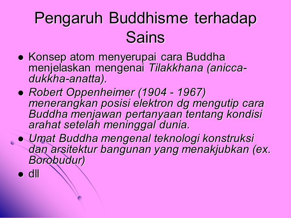 Pengaruh Buddhisme terhadap Sains
