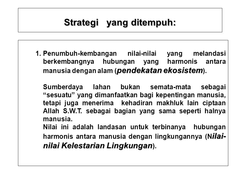 Strategi yang ditempuh: