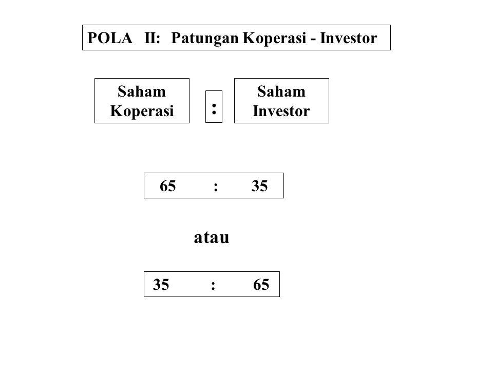 : atau POLA II: Patungan Koperasi - Investor Saham Koperasi Saham