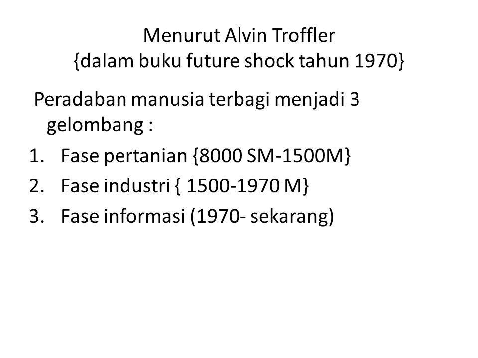 Menurut Alvin Troffler {dalam buku future shock tahun 1970}
