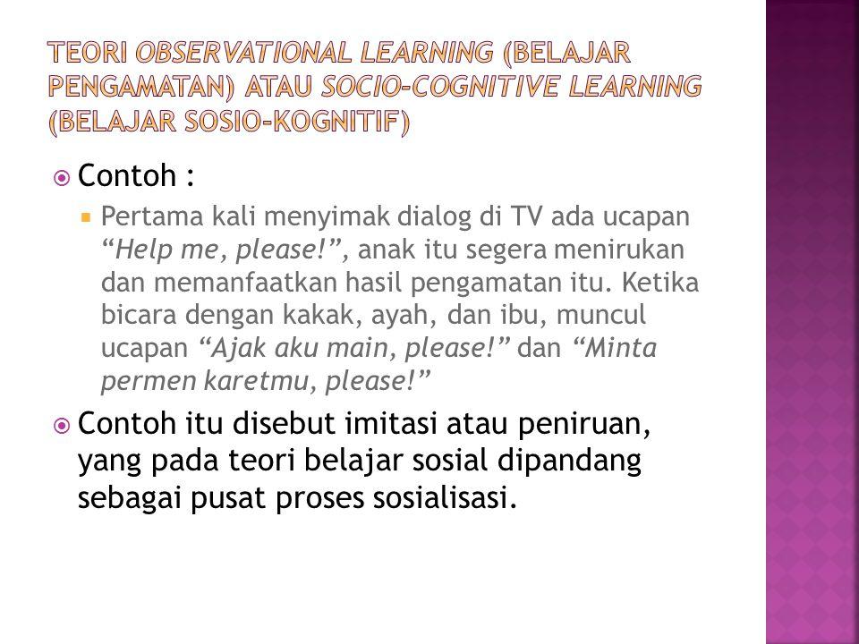 Teori Observational Learning (Belajar Pengamatan) atau Socio-Cognitive Learning (Belajar Sosio-Kognitif)