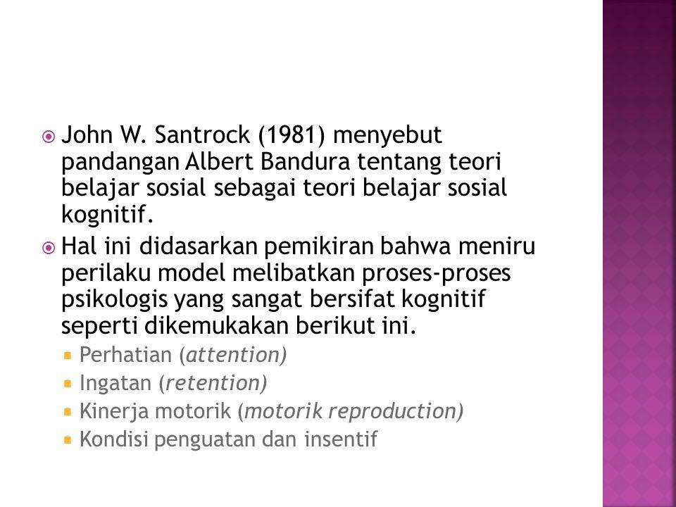 John W. Santrock (1981) menyebut pandangan Albert Bandura tentang teori belajar sosial sebagai teori belajar sosial kognitif.