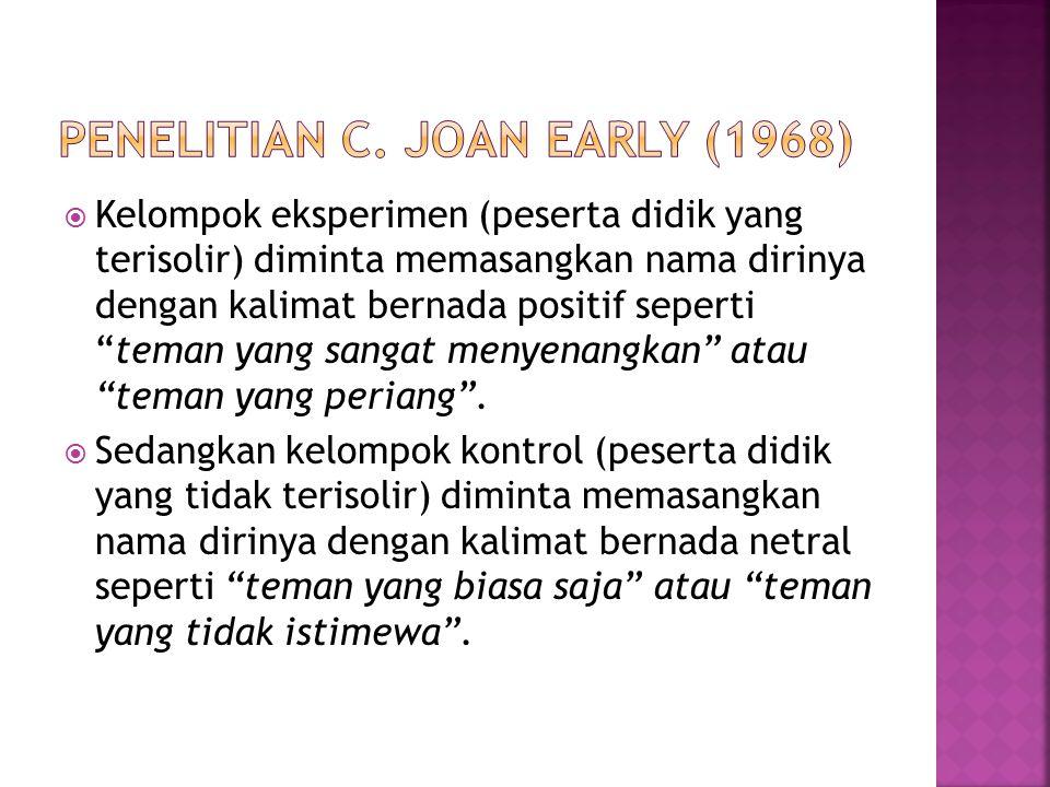 Penelitian C. Joan Early (1968)