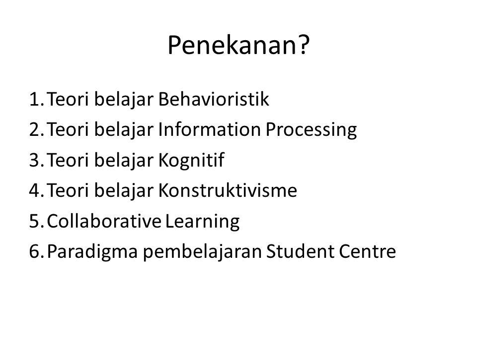 Penekanan 1. Teori belajar Behavioristik