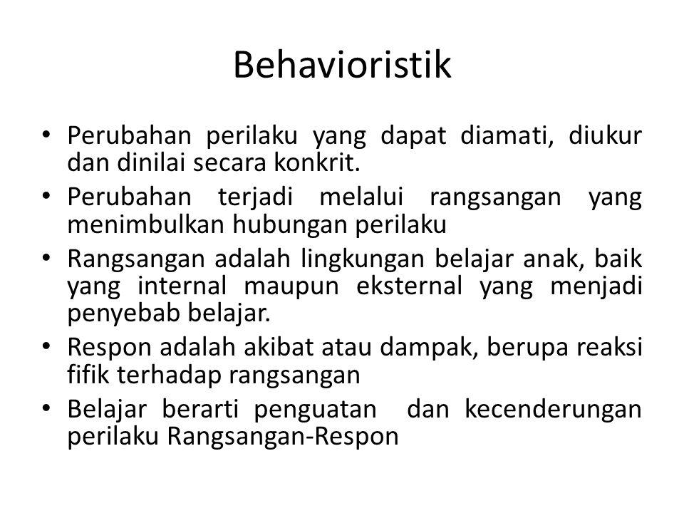 Behavioristik Perubahan perilaku yang dapat diamati, diukur dan dinilai secara konkrit.