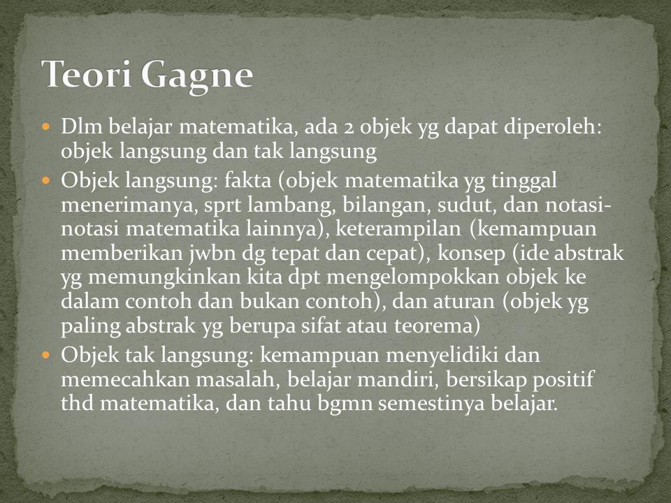 Teori Gagne Dlm belajar matematika, ada 2 objek yg dapat diperoleh: objek langsung dan tak langsung.