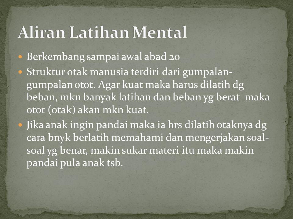 Aliran Latihan Mental Berkembang sampai awal abad 20