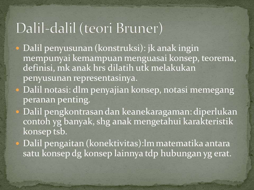 Dalil-dalil (teori Bruner)