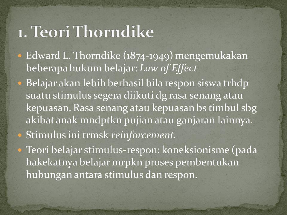 1. Teori Thorndike Edward L. Thorndike (1874-1949) mengemukakan beberapa hukum belajar: Law of Effect.