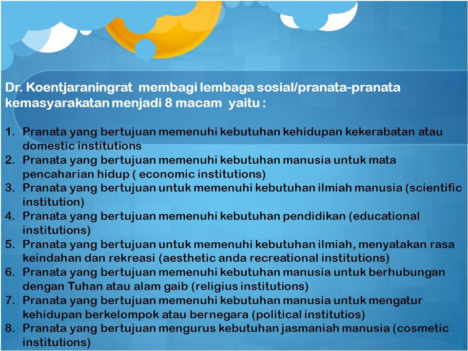 Dr. Koentjaraningrat membagi lembaga sosial/pranata-pranata kemasyarakatan menjadi 8 macam yaitu :