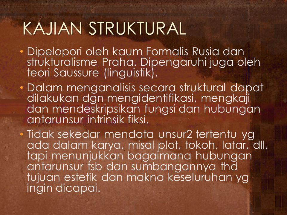 KAJIAN STRUKTURAL Dipelopori oleh kaum Formalis Rusia dan strukturalisme Praha. Dipengaruhi juga oleh teori Saussure (linguistik).