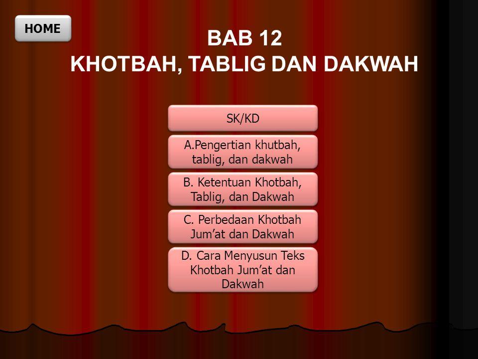 BAB 12 KHOTBAH, TABLIG DAN DAKWAH