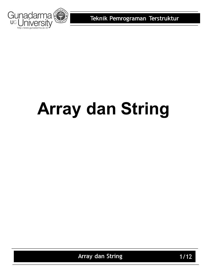 Array dan String Array dan String