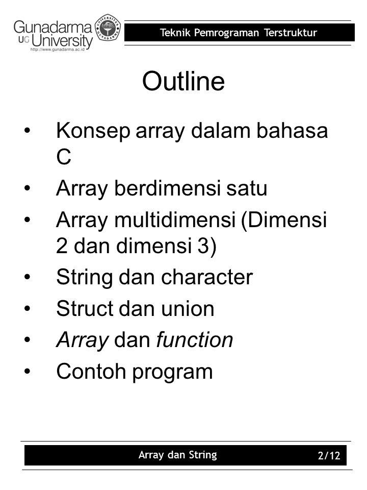 Outline Konsep array dalam bahasa C Array berdimensi satu