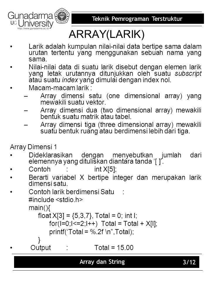 ARRAY(LARIK) Larik adalah kumpulan nilai-nilai data bertipe sama dalam urutan tertentu yang menggunakan sebuah nama yang sama.