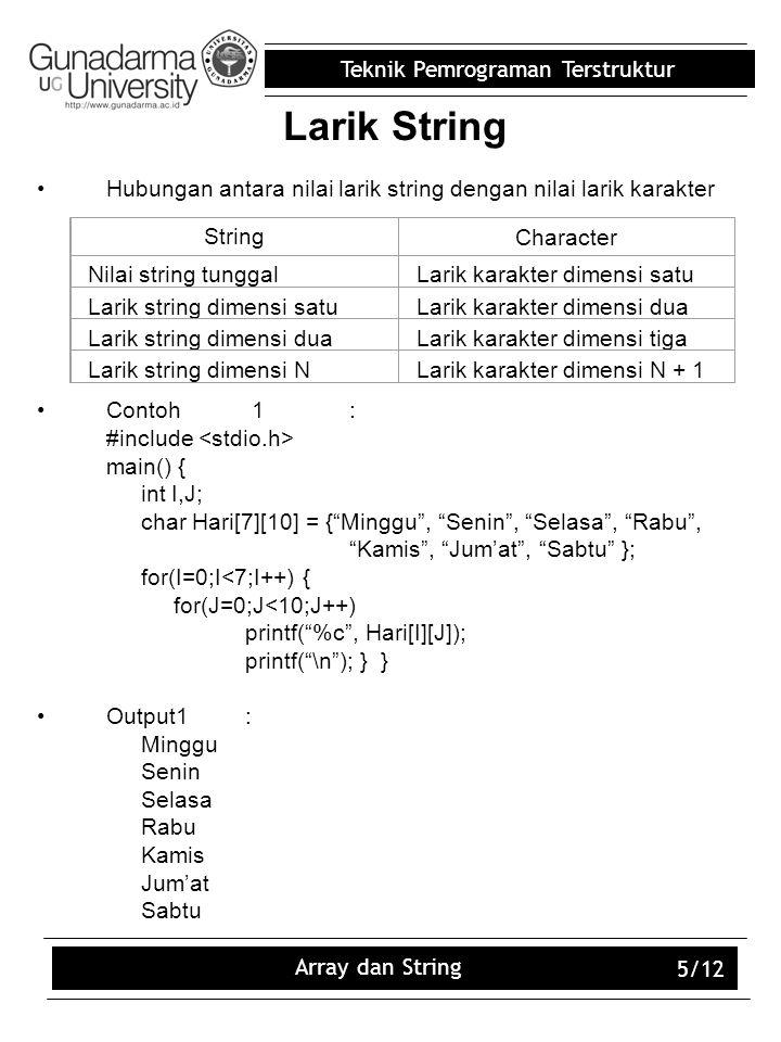 Larik String Hubungan antara nilai larik string dengan nilai larik karakter. Contoh 1 : #include <stdio.h>