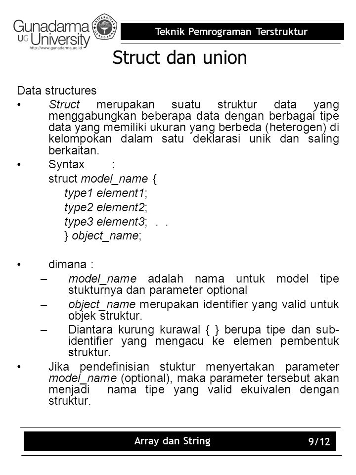 Struct dan union Data structures
