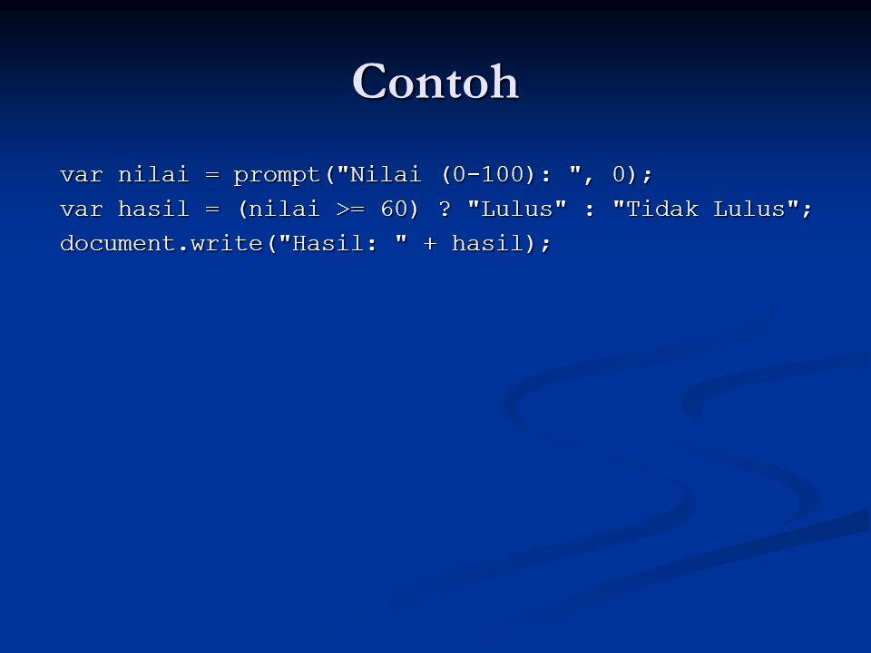 Contoh var nilai = prompt( Nilai (0-100): , 0);