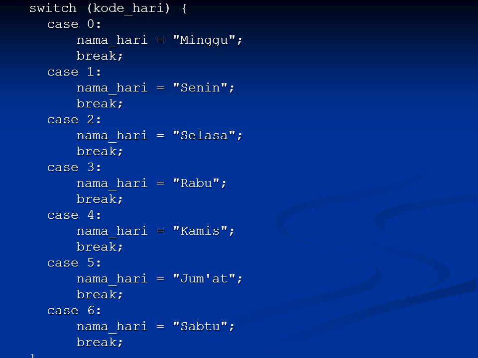 switch (kode_hari) { case 0: nama_hari = Minggu ; break; case 1: nama_hari = Senin ; case 2: