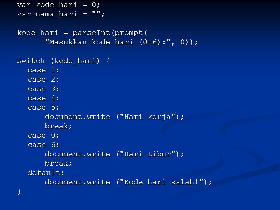 var kode_hari = 0; var nama_hari = ; kode_hari = parseInt(prompt( Masukkan kode hari (0-6): , 0));