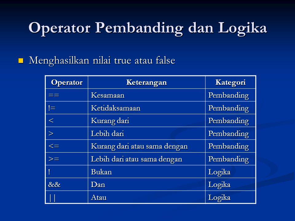 Operator Pembanding dan Logika