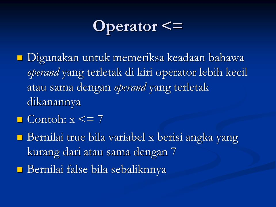 Operator <=