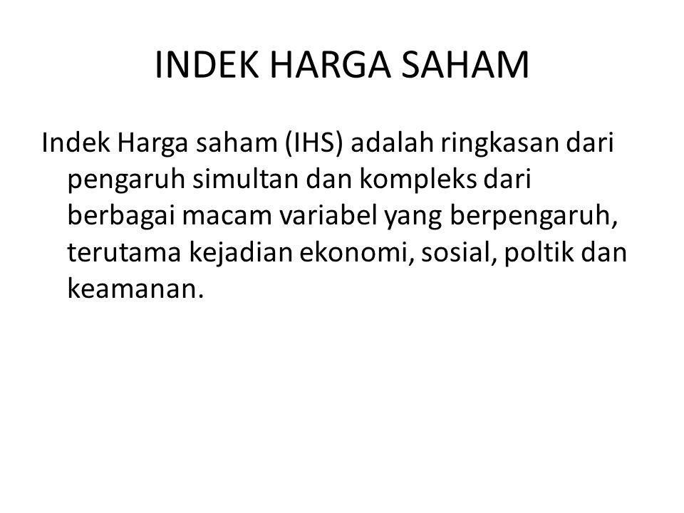 INDEK HARGA SAHAM