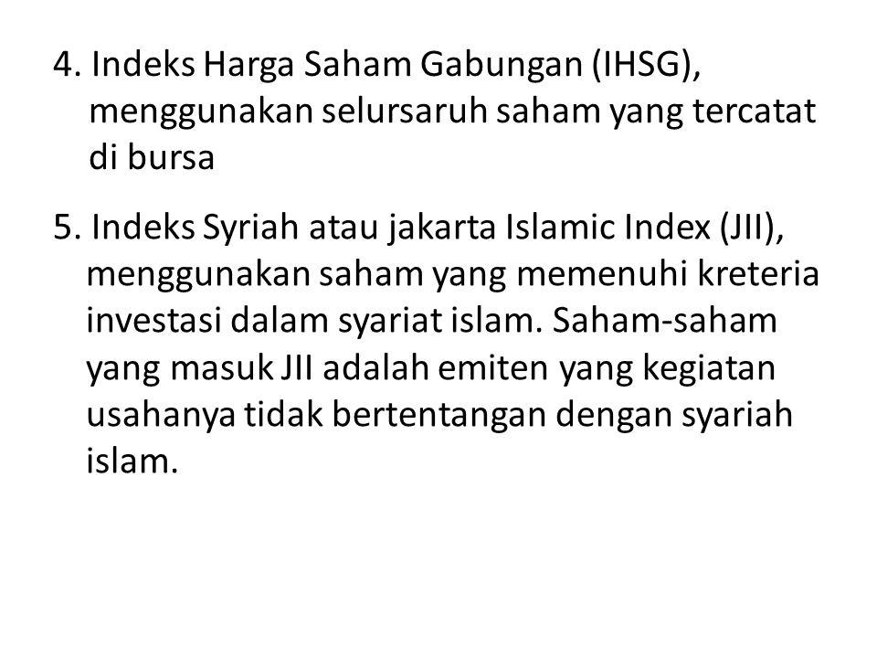 4. Indeks Harga Saham Gabungan (IHSG), menggunakan selursaruh saham yang tercatat di bursa