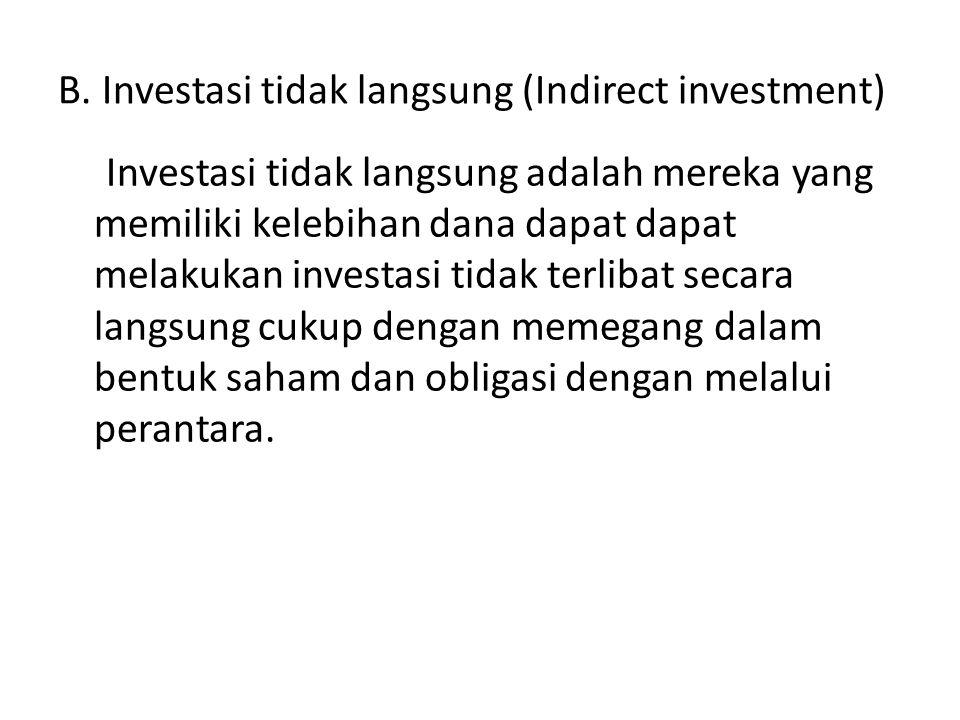 B. Investasi tidak langsung (Indirect investment)