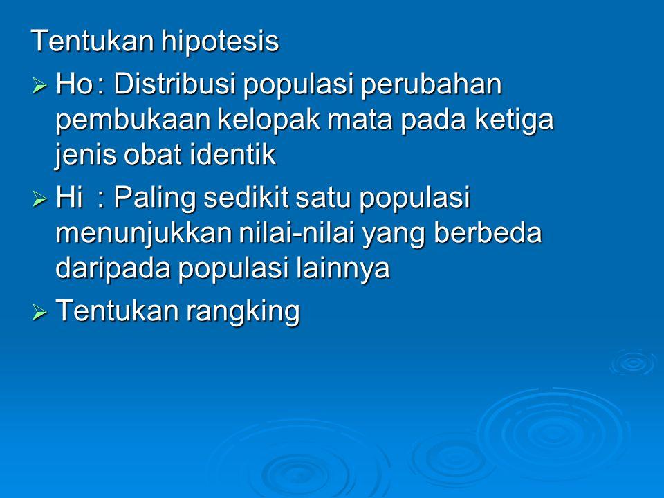 Tentukan hipotesis Ho : Distribusi populasi perubahan pembukaan kelopak mata pada ketiga jenis obat identik.