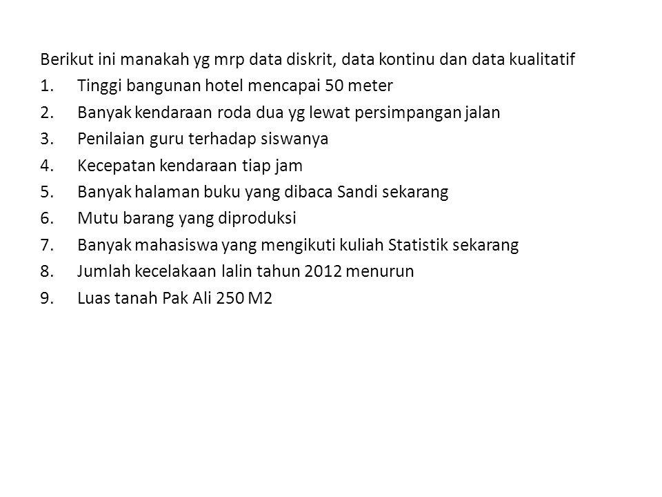 Berikut ini manakah yg mrp data diskrit, data kontinu dan data kualitatif