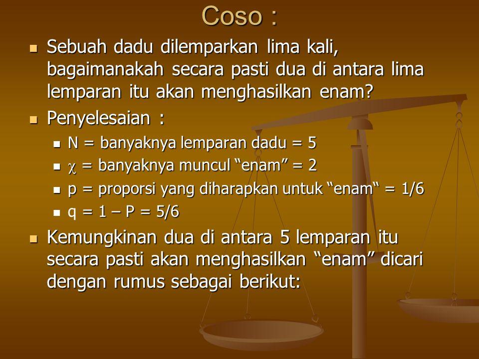 Coso : Sebuah dadu dilemparkan lima kali, bagaimanakah secara pasti dua di antara lima lemparan itu akan menghasilkan enam