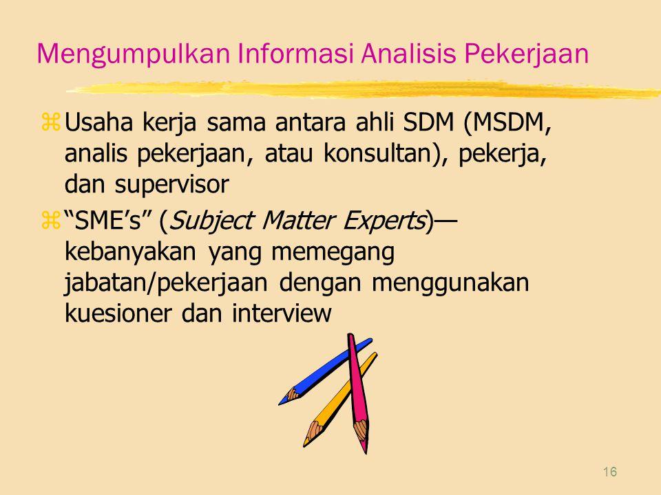 Mengumpulkan Informasi Analisis Pekerjaan