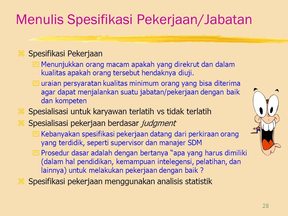 Menulis Spesifikasi Pekerjaan/Jabatan
