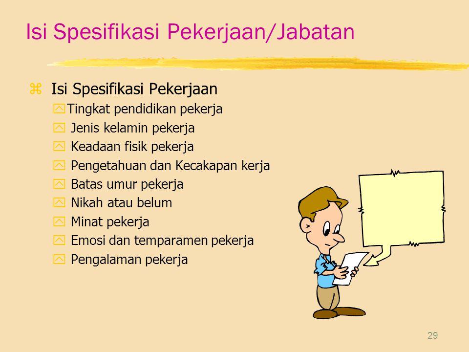 Isi Spesifikasi Pekerjaan/Jabatan
